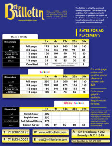 Click for Bulletin Price sheet